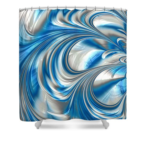Nickel Blue Abstract Shower Curtain