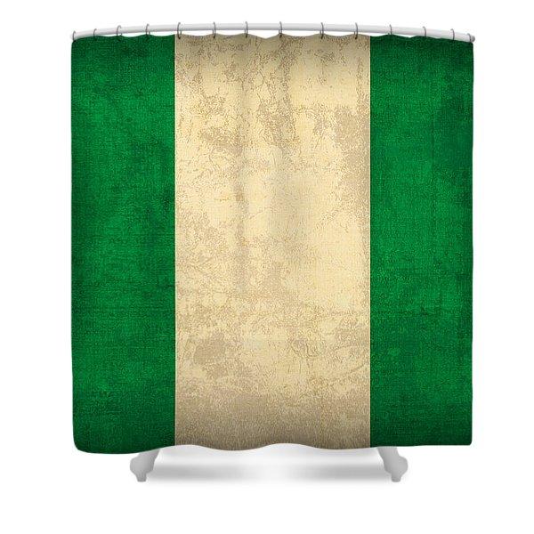 Nigeria Flag Vintage Distressed Finish Shower Curtain