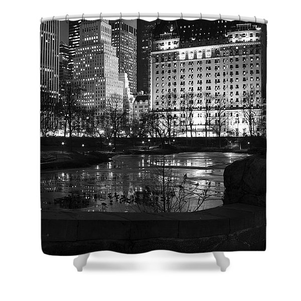 Night Central Park Lake H Shower Curtain