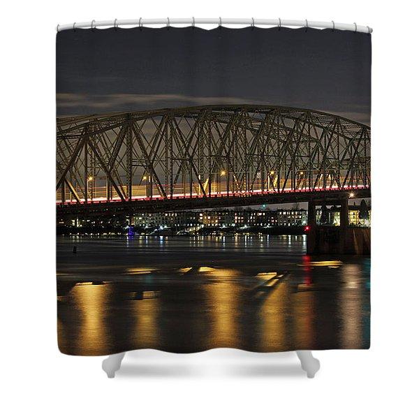 Night Crossing At I-5 Shower Curtain