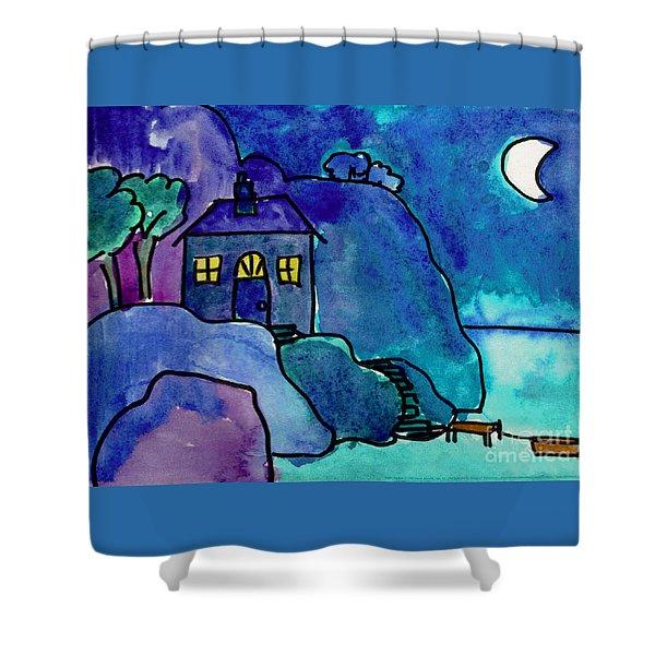 Night Harbor Shower Curtain