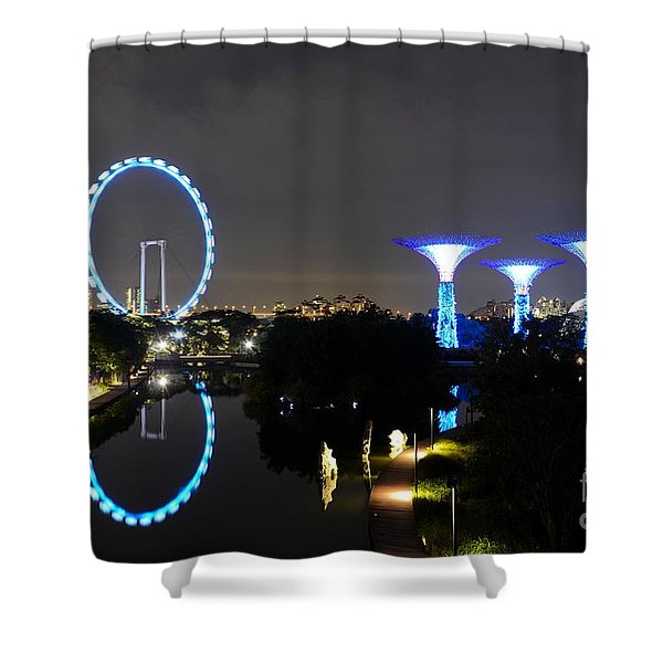 Night Shot Of Singapore Flyer Gardens By The Bay And Water Reflections Shower Curtain