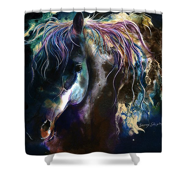 Night Stallion Shower Curtain