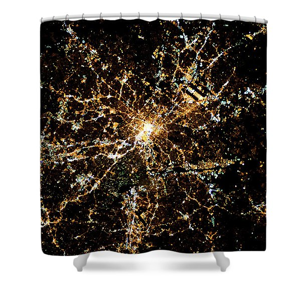 Night Time Satellite Image Of Atlanta Shower Curtain