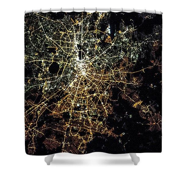 Night Time Satellite Image Of Berlin Shower Curtain