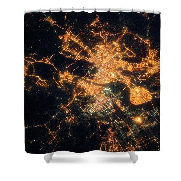 Night Time Satellite View Of Hangzhou Shower Curtain