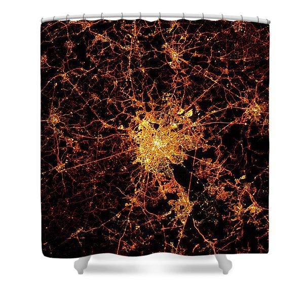 Night Time Satellite View Of Berck, Nord-pas-de-calais, France  Shower Curtain