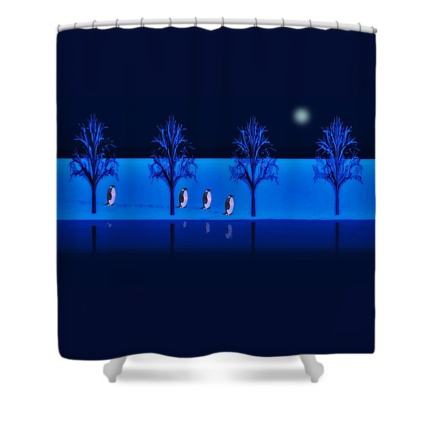 Night Walk Of The Penguins Shower Curtain