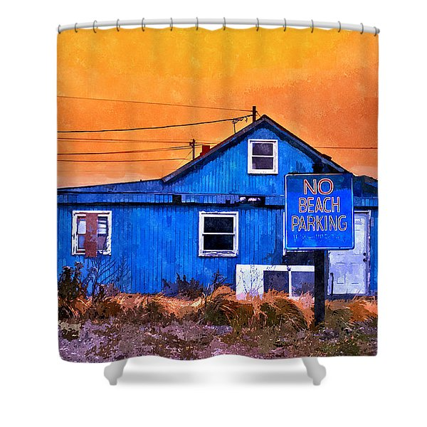 No Beach Parking Shower Curtain