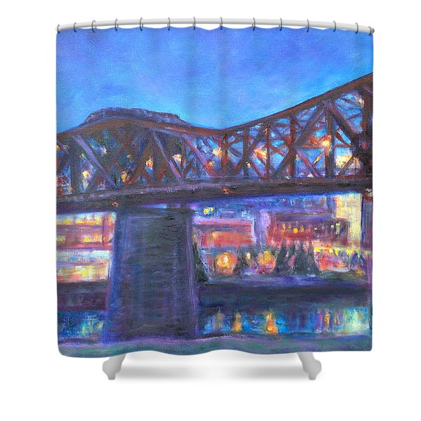 City At Night Downtown Evening Scene Original Contemporary Painting For Sale Shower Curtain