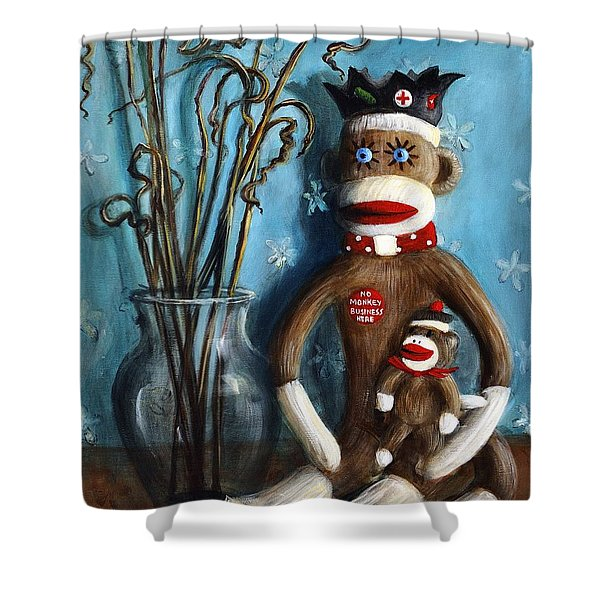 No Monkey Business Here 1 Shower Curtain