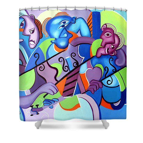 Shower Curtain featuring the painting No Strings Attached by Anthony Falbo
