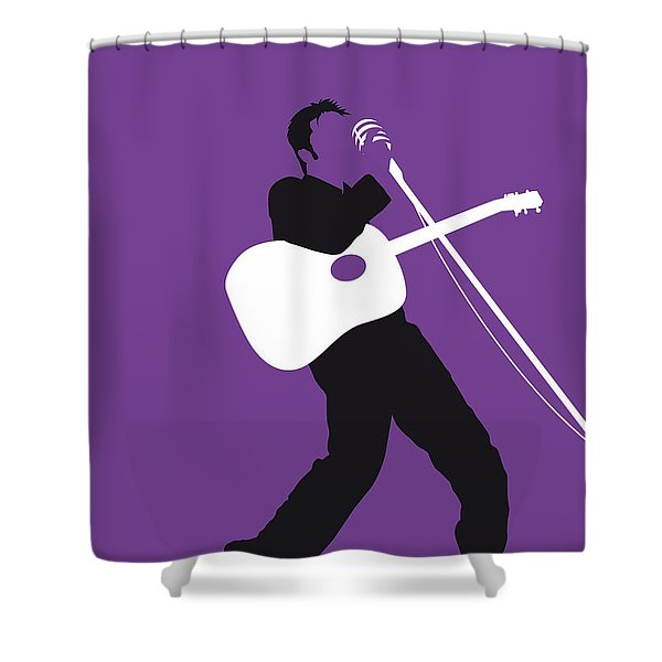No021 My Elvis Minimal Music Poster Shower Curtain