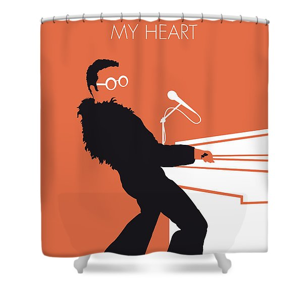 No053 My Elton John Minimal Music Poster Shower Curtain