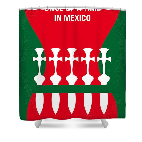 No058 My Once Upon A Time In Mexico Minimal Movie Poster Shower Curtain
