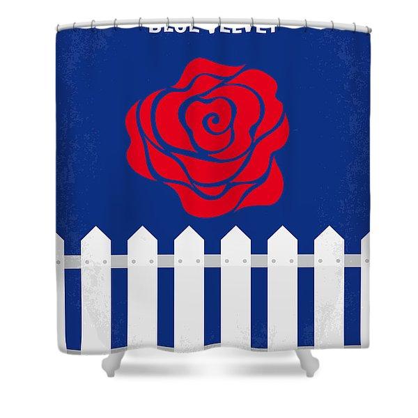 No170 My Blue Velvet Minimal Movie Poster Shower Curtain