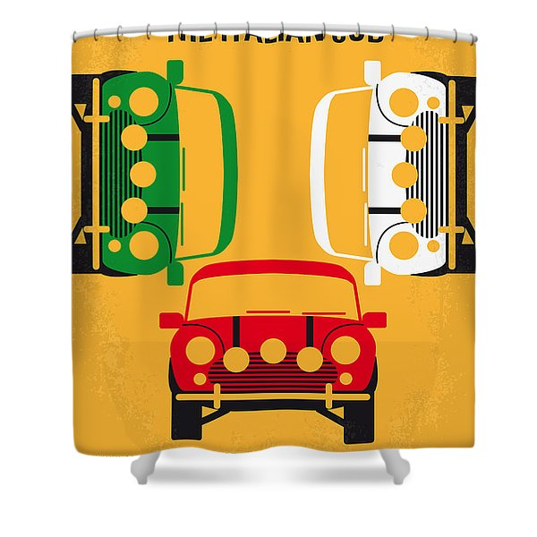 No279 My The Italian Job Minimal Movie Poster Shower Curtain