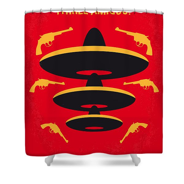 No285 My Three Amigos Minimal Movie Poster Shower Curtain