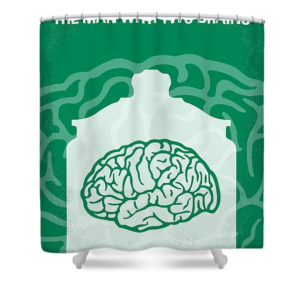 No390 My The Man With Two Brains Minimal Movie Poster Shower Curtain