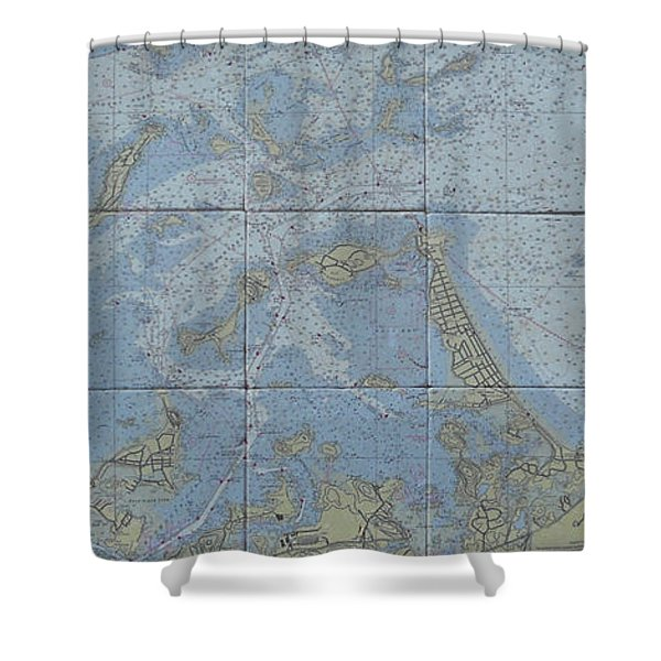 Noaa Chart Of Boston Harbor  Shower Curtain