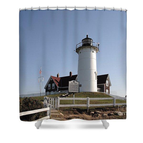 Nobska Lighthouse On Cape Cod At Woods Hole Massachusetts Shower Curtain