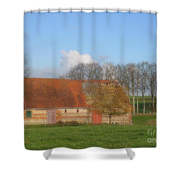 Normandy Storm Damaged Barn Shower Curtain