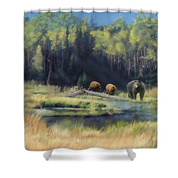 North American Waterhole Shower Curtain