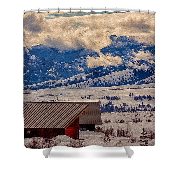 North Cascades Mountain View Shower Curtain