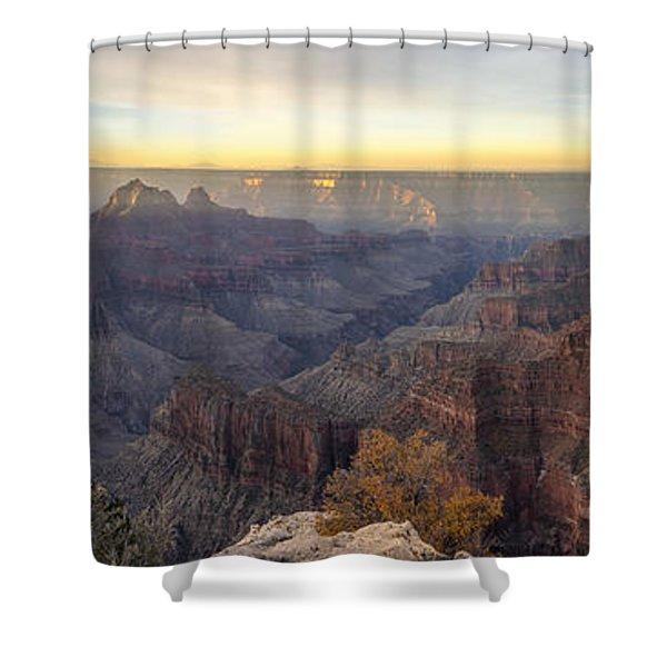 North Rim Sunrise Panorama 2 - Grand Canyon National Park - Arizona Shower Curtain