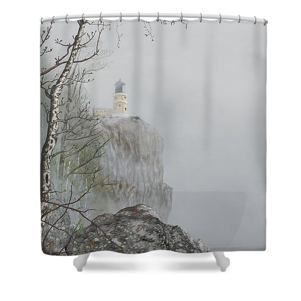 North Shore Lighthouse In The Fog Shower Curtain