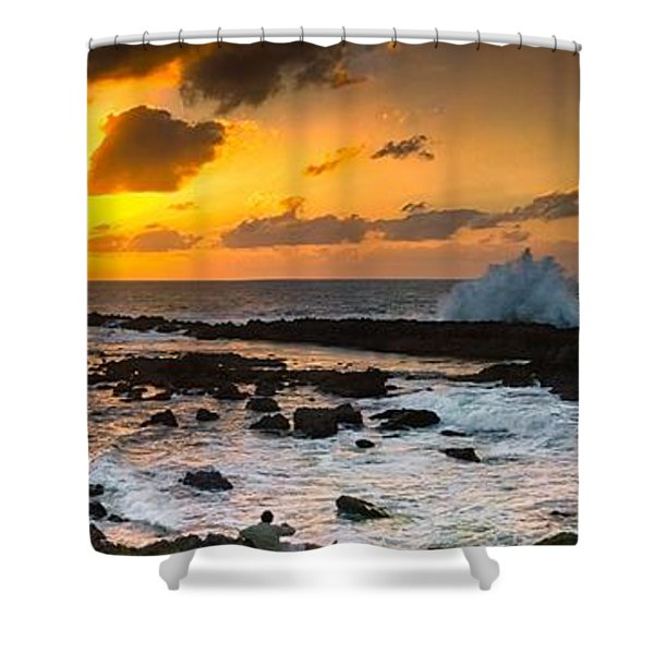 North Shore Sunset Crashing Wave Shower Curtain
