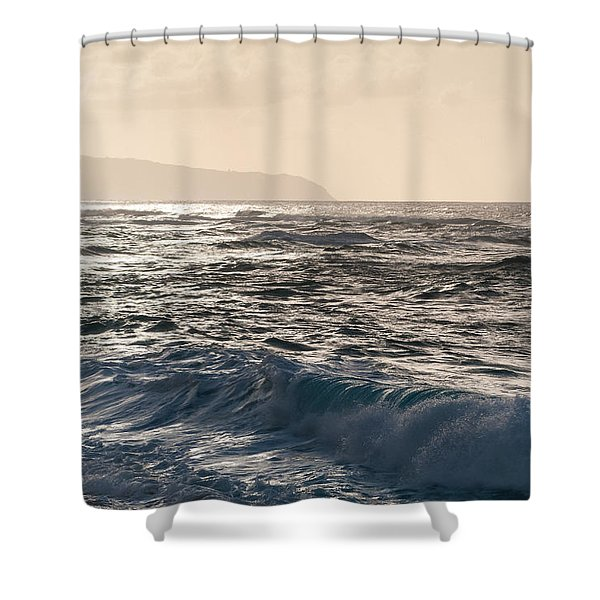 North Shore Waves Shower Curtain