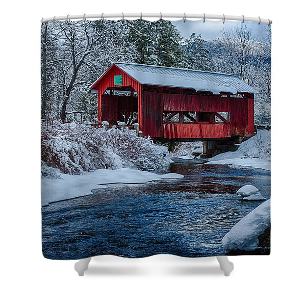 Northfield Vermont Covered Bridge Shower Curtain