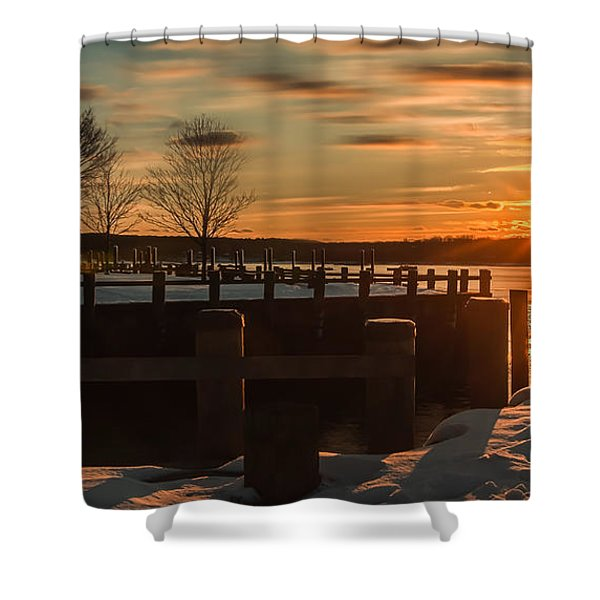 Northport New York Winter Sunset Shower Curtain