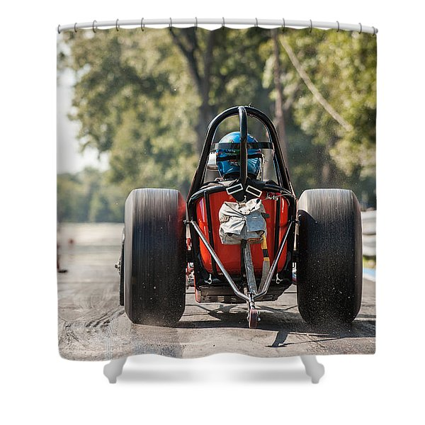 Nostalgia Front Engine Dragster Burnout Shower Curtain