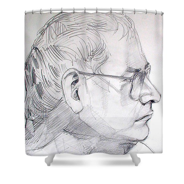 Graphite Portrait Life Drawing Sketch Not So Young Anymore Shower Curtain