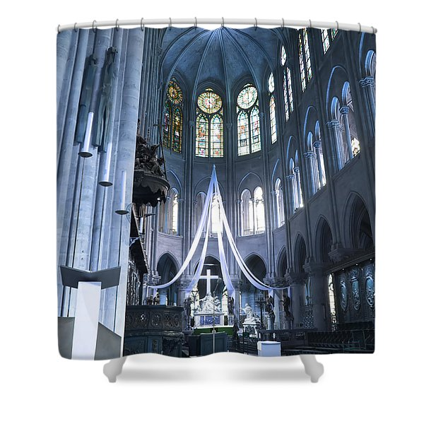 Notre Dame Altar Teal Paris France Shower Curtain