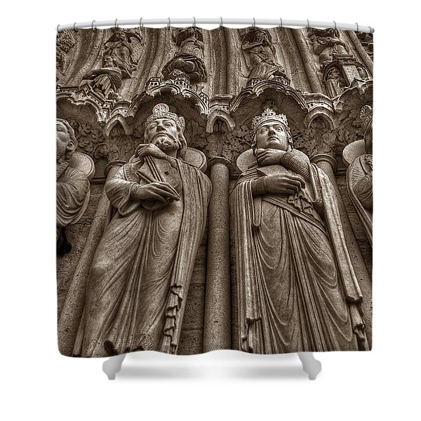 Notre Dame Facade Detail Shower Curtain
