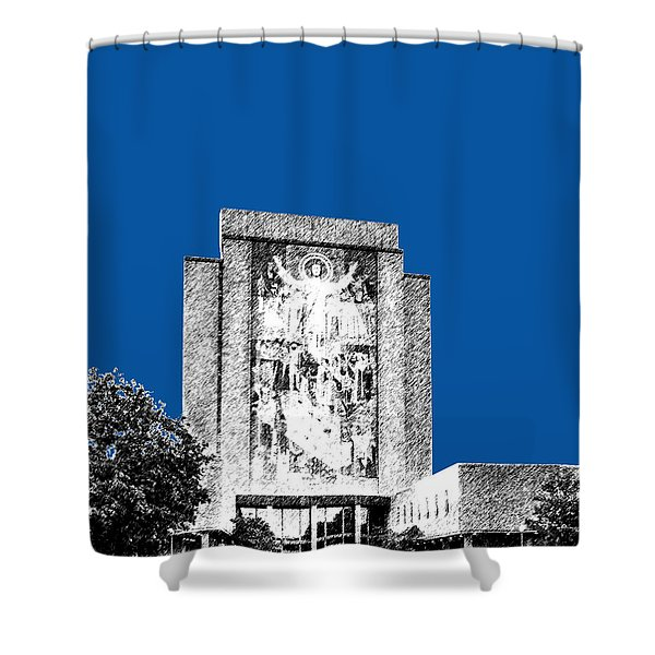 Notre Dame University Skyline Hesburgh Library - Royal Blue Shower Curtain