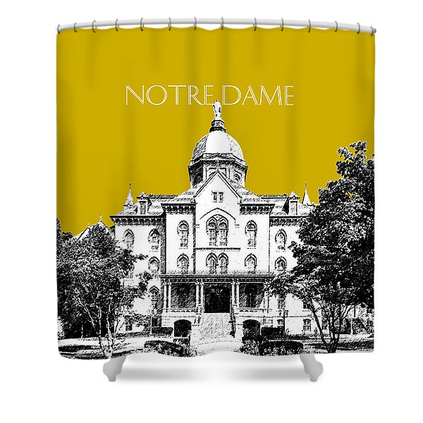 Notre Dame University Skyline Main Building - Gold Shower Curtain