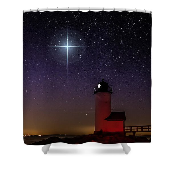 Star Over Annisquam Lighthouse Shower Curtain