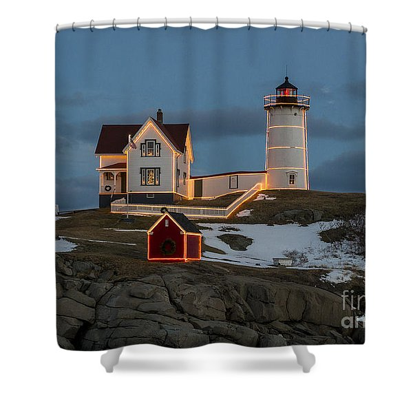 Nubble Lighthouse At Christmas Shower Curtain