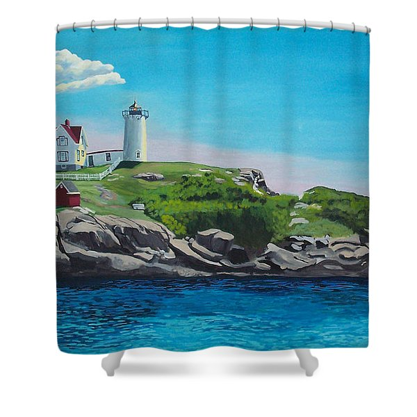 Nubble Lighthouse Sunrise Shower Curtain