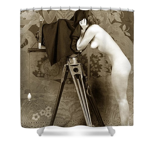 Nude In High Heel Shoes With Studio Camera Circa 1920 Shower Curtain