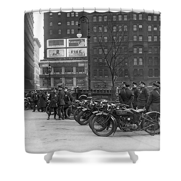 Ny Motorcycle Police Shower Curtain