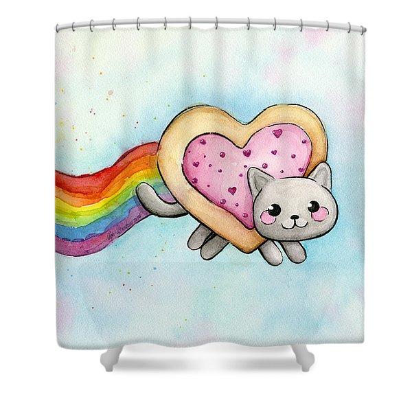 Nyan Cat Valentine Heart Shower Curtain
