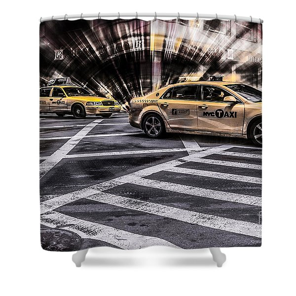Nyc Yellow Cab On 5th Street - White Shower Curtain
