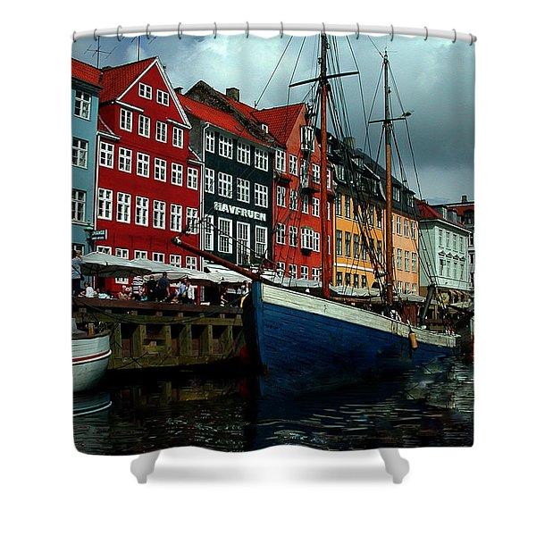 Shower Curtain featuring the photograph Nyhavn Copenhagen by Colette V Hera  Guggenheim