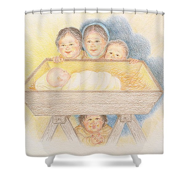 O Come Little Children - Christmas Card Shower Curtain