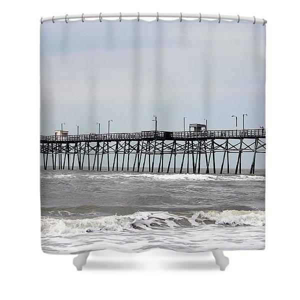 Oak Island Beach Pier Shower Curtain